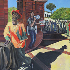 Long Shadow at the Clock Tower (Santa Cruz), 2014: 40'' x 30'', oil on canvas