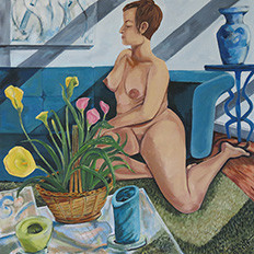 Greek Nude with Calla Lillies, 2014: 36'' x 36'', oil on canvas