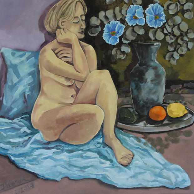 Nordic Nude with Himalayan Poppies, 2014: 36'' x 36'', oil on canvas
