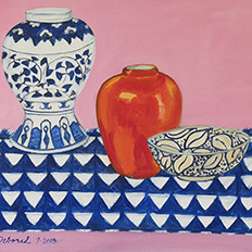 Still Life with Patterns, 2013, oil on Canvas