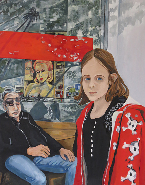 Young Girl on Ventura Boulevard, 2014: 36'' x 36'', Oil on Canvas